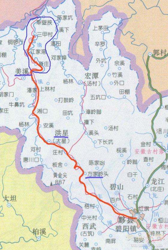 黟县至美溪交通图