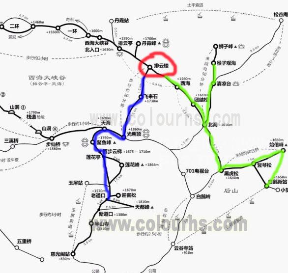 黄山西海排云楼宾馆交通示意线路图(图中红圈处为西海排云楼宾馆所在位置).jpg