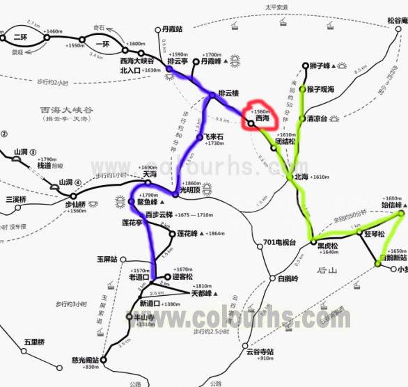 黄山西海饭店交通示意线路图(图中红圈处为黄山西海饭店所在位置).jpg