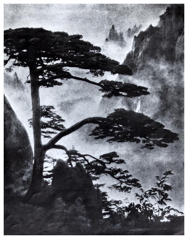 黄山迎客松介绍 黄山迎客松图片 郎静山/1947年画册中的黄山迎客松.jpg
