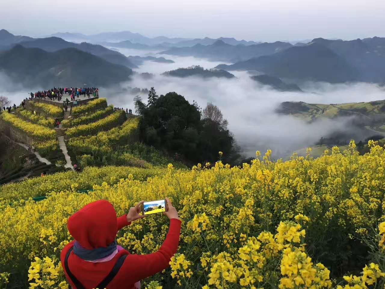 2017年3月27日早晨,歙县石潭出现春季以来醉美云海,摄影:潘成